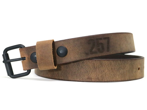 Finished Brown Crazy Horse Leather Belt with Black Buckle