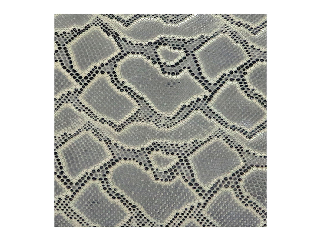 Grey and Mustard Embossed Snake Print Leather Pre-Cut Piece