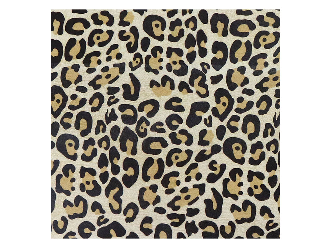 Almond Leopard Embossed & Printed Cowhide Leather