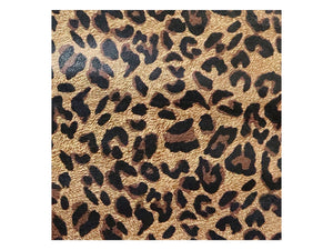 Brown leopard print printed/embossed cowhide leather sold by the square foot. 1 square foot example