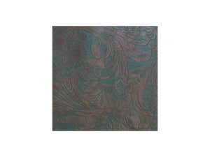 Brown and teal western floral embossed cowhide leather sheet sold by the square foot. 1 square foot example