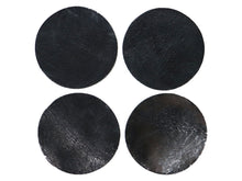 "Load image into Gallery viewer, Black Vintage Glazed Water Buffalo Leather Round Coaster Shapes, 4""x4"""