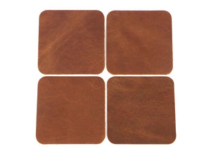 "Peanut (Light Brown) West Tan Water Buffalo Leather, Square Coaster Shapes, 4""x4"""