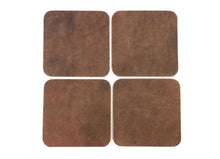 "Load image into Gallery viewer, Brown Crazy Horse Water Buffalo Leather Square Coaster Shapes, 4""x4"""
