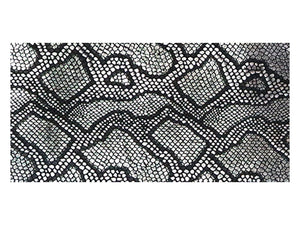 Metallic Black and Silver Embossed Snake Print Precut