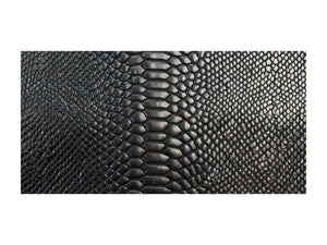 Black Twist Embossed Snake Print Leather Pre-Cut