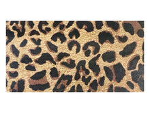 "Load image into Gallery viewer, Brown leopard print printed/embossed cowhide leather sold by the square foot. 6x12"" precut example"