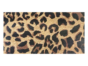 "Brown leopard print printed/embossed cowhide leather sold by the square foot. 6x12"" precut example"