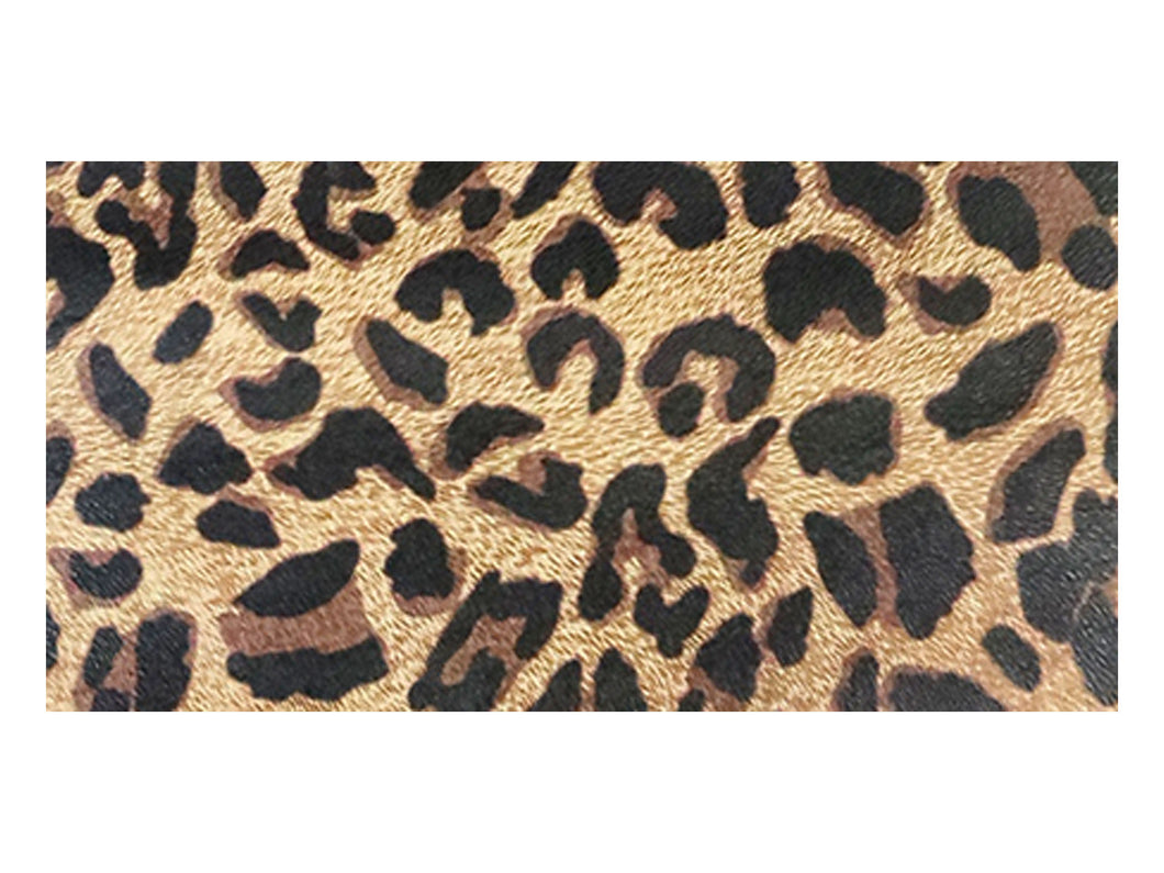 Brown leopard print printed/embossed cowhide leather sold by the square foot. 6x12