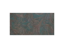 "Load image into Gallery viewer, Brown and teal western floral embossed cowhide leather sheet sold by the square foot. 6x12"" precut example."