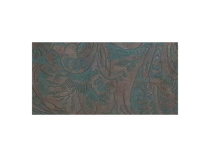 "Brown and teal western floral embossed cowhide leather sheet sold by the square foot. 6x12"" precut example."