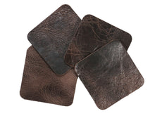"Load image into Gallery viewer, Chocolate Vintage Glazed, Square Water Buffalo Leather Coaster Shapes, 4""x4"""