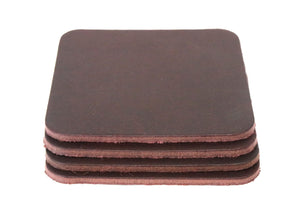 "Burgundy Brown West Tan Water Buffalo Leather, Square Coaster Shapes, 4""x4"""