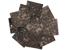 "Load image into Gallery viewer, Set of 10 Shimmering Copper Embossed Leather Pieces 3""x3"", Floral Embossed Print"