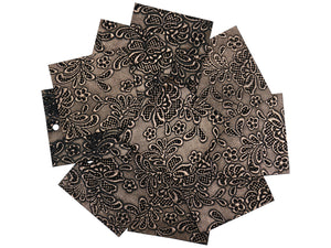 "Set of 10 Shimmering Copper Embossed Leather Pieces 3""x3"", Floral Embossed Print"