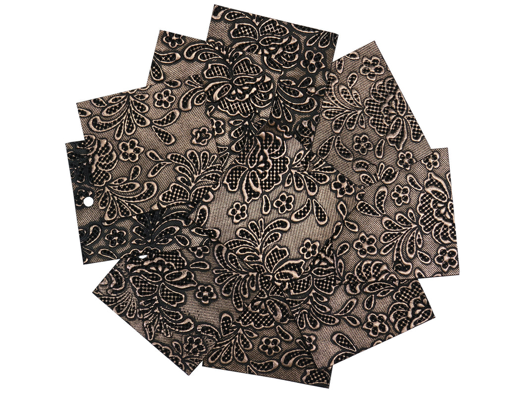 Set of 10 Shimmering Copper Embossed Leather Pieces 3