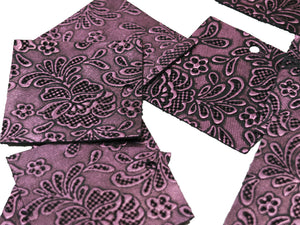 "Set of 10 Shimmering Purple Embossed Leather Pieces 3""x3"", Floral Embossed Print"
