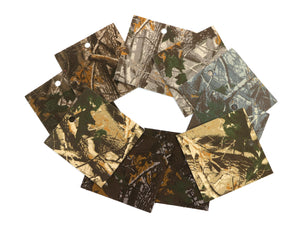 "Set of 10 Camo Printed Leather Pieces 3""x3"", Camouflage"
