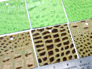"Set of 10 Gator Embossed Leather Pieces 3""x3"", Yellow/Brown & Neon Green"