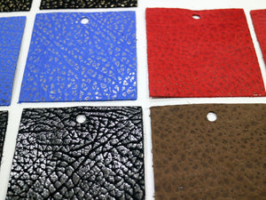 "Set of 10 Shimmering Colored Leather Pieces 3""x3"", Blue, Red, Brown and Black Leather Pieces"