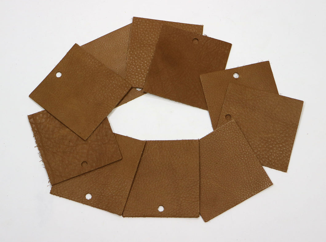 Set of 10 Brown Upholstery Leather Pieces 3