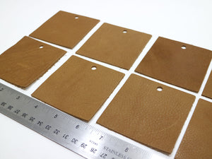 "Set of 10 Brown Upholstery Leather Pieces 3""x3"""