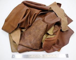 Upholstery Leather Remnants, Premium Mixed Browns