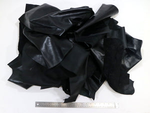 Upholstery Leather Remnants, Premium Black