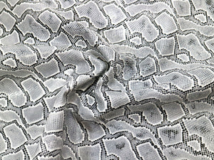 Black & White Embossed Snake Print Leather Pre-Cut Piece