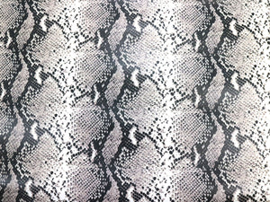 Natural Beige Python Snake Print Embossed on Cowhide Leather, Full Side 18-22 Square Feet