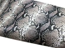 Load image into Gallery viewer, Natural Beige Python Snake Print Embossed on Cowhide Leather, Full Side 18-22 Square Feet