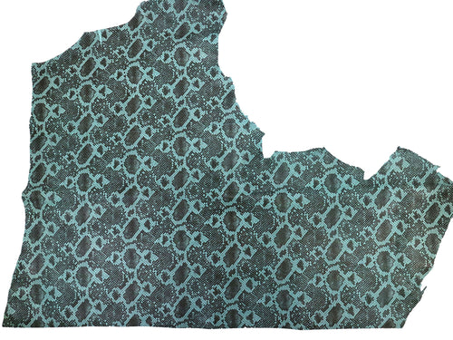 Aqua teal embossed snake print on cowhide leather. Full side 18-22 square feet.