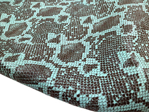 Aqua Teal Python Leather Print Embossed Snake Precut