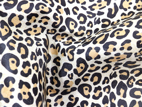 Almond Leopard embossed and printed cowhide leather. Thin animal print leather