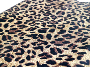 Brown Camel Leopard Embossed & Printed Cowhide Leather