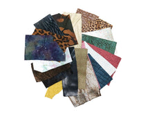 Load image into Gallery viewer, One Pound Embossed and Printed Scrap Leather Remnants