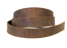"Load image into Gallery viewer, Brown crazy horse style buffalo leather strip. 48"" to 60"" in length."