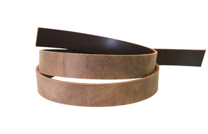 "Brown crazy horse style buffalo leather strip. 48"" to 60"" in length."