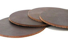 "Load image into Gallery viewer, Matte Brown West Tan Water Buffalo Leather, Round Coaster Shapes, 4""x4"""