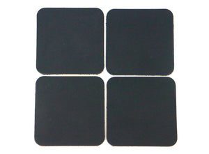 "Matte Black West Tan Water Buffalo Leather, Square Coaster Shapes, 4""x4"""