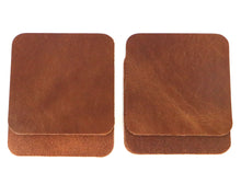 "Load image into Gallery viewer, Peanut (Light Brown) West Tan Water Buffalo Leather, Square Coaster Shapes, 4""x4"""