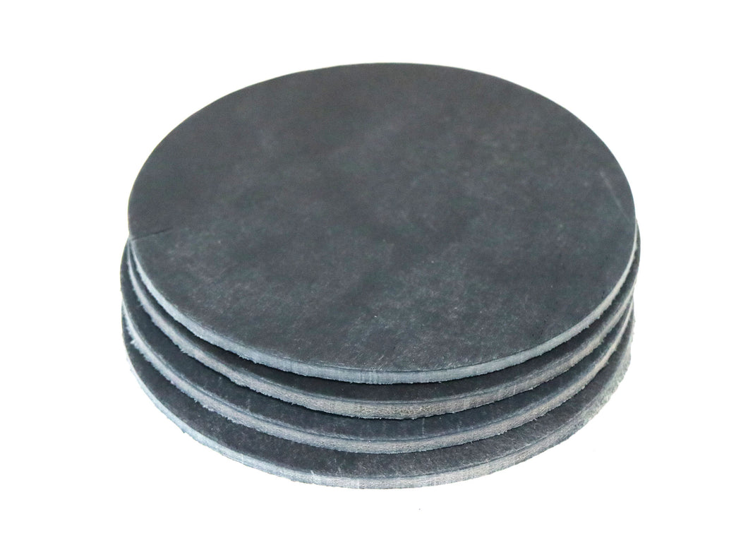 Navy Crazy Horse Water Buffalo Leather Round Coaster Shapes, 4