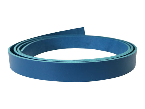 Blue vegetable tanned leather strip. Colored vegetable tanned leather strip. 72 inch leather strip.