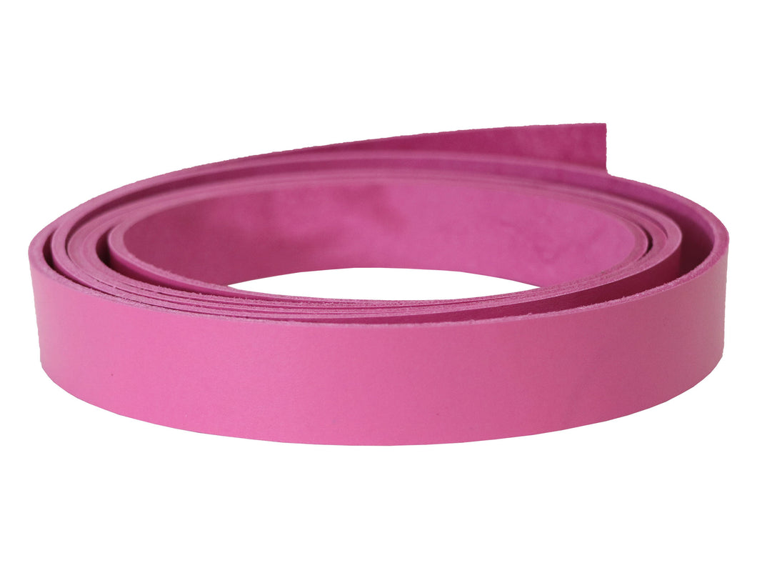 "Pink Vegetable Tanned Leather Strip, 72"" in Length, Premium Grade Leather"