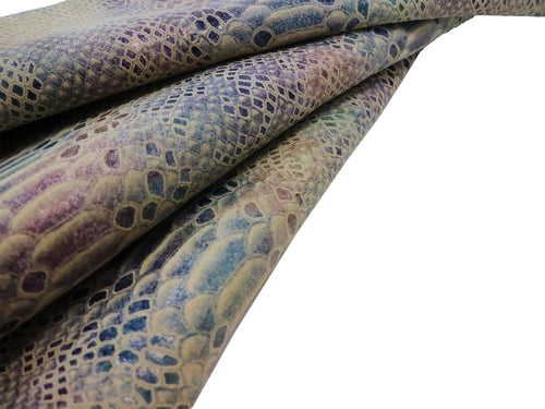 Beige snake print cowhide leather with blue and purple scales.