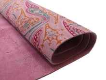 Load image into Gallery viewer, Pink Paisley Printed Suede Leather