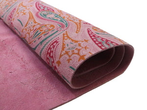 Pink Paisley Printed Suede Leather
