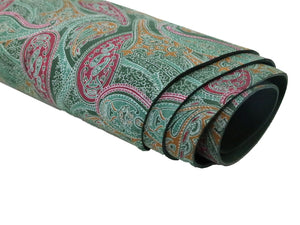 Stonestreet leather forest green paisley printed cowhide leather. Dark green suede leather with pink, orange, and light green paisley design printed onto it.