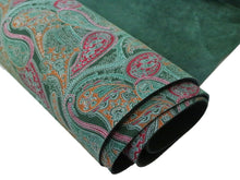 Load image into Gallery viewer, Stonestreet leather forest green paisley printed cowhide leather. Dark green suede leather with pink, orange, and light green paisley design printed onto it.