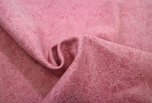Pink Floral Lace Embossed Cowhide Leather